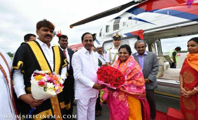 CM K Chandrasekhar Rao recevi g newly appointed Governor Tamilisai Soundararajan