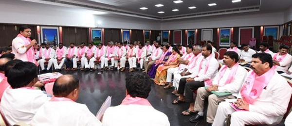 Ktr met municipal incharges and secretaries @ Telangana Bhavan