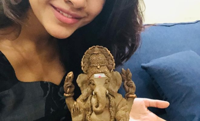 Nabha Natesh makes Eco friendly ganesha