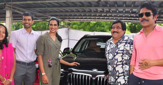 P.V. Sindhu presented with BMW car by Akkineni Nagarjuna