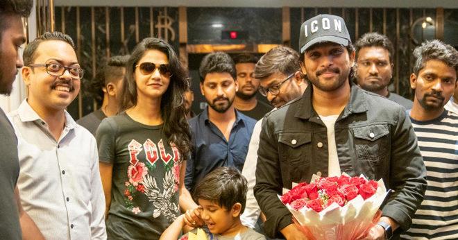 Allu Arjun watching Syeraa @AMB along with his family
