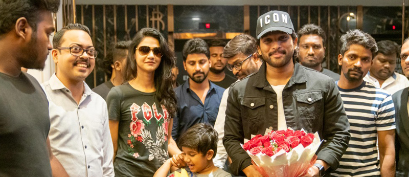 Allu Arjun watching Syeraa @AMB along with his family