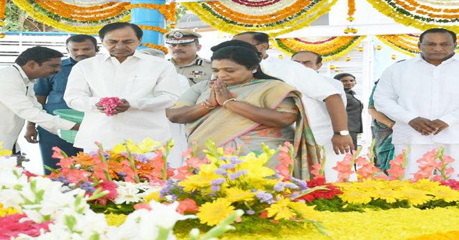 Telangana CM and Governor tributes to Mahatma Gandhi