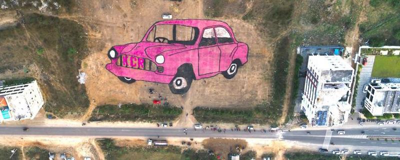 Amazing Car rangoli is attracting @Sirisilla